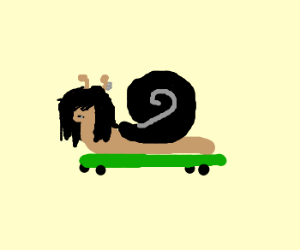 skater snail with long hair