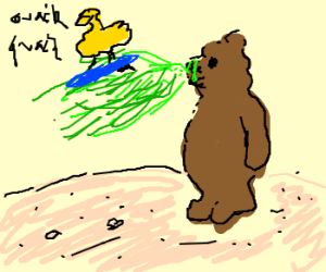 quacking yellow duck rides barfing bear
