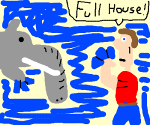 Dolphelephant plays poker with man