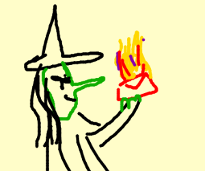 Witch burns mail with wand
