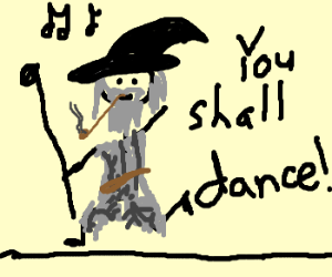 Gandalf learning to dance.