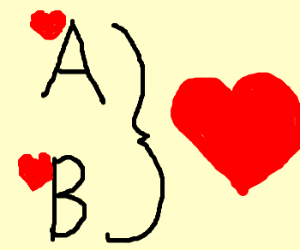 A & B are paired by  }. Love ensues.
