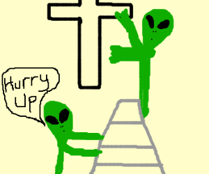 Aliens steal cross from church! ;o