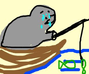 depressed hippo goes fishing