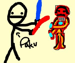 Pabu beats up Iron Man