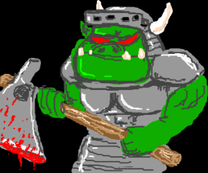 Orc knight with bloody axe