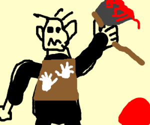 orc warrior holding bloodied axe