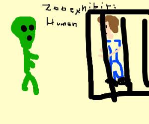 Alien watchs human in zoo