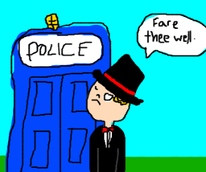 formal man walks out of police box