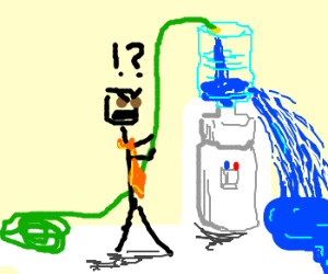 Person angry at unfillable water cooler