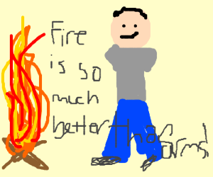 Armless guy thinks that fire is awesome