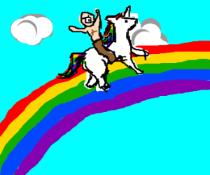 Cyclops Rides Unicorn On Rainbow