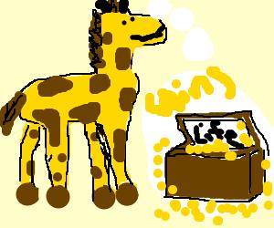 giraffe thinks abt life n chest of coins