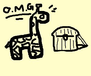 giraffe thinks he found a goldtreasure