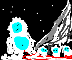 Yeti gives painful birth to triplets