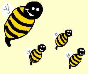 Big Bee with 3 little bees