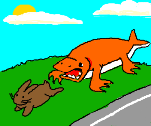 orange shark-platypus chases brown bunny