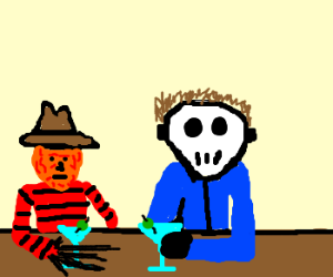 Freddy and Jason drinking martinis