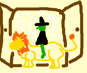 A witch riding a lion in a wardrobe.