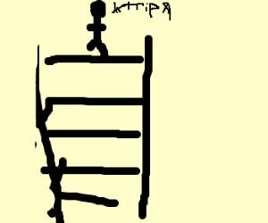 Stickman falls down stairs.