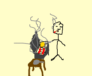 Smoking man doin some barbecue