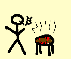 Smoking man with grill