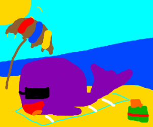 whale sunbathing on beach