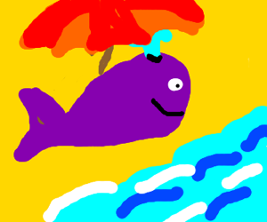 purple whale under umbrella on beach