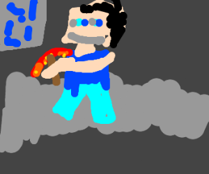 Guy mines with a demon pickaxe - Drawception