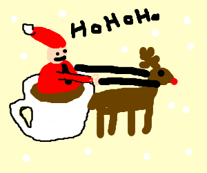 Santa Clause riding in a cup of cofee