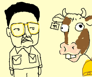 Kim Jong Il looks at a retarded cow.