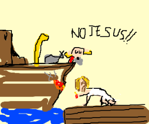 Jesus puts out a fire on the Noah's Ark