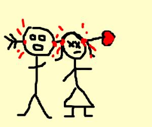Cupid's arrow strikes stick couple