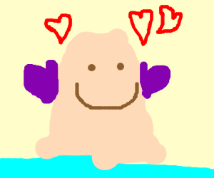 Ditto wearing mittens wants hug