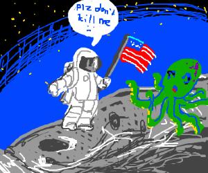 Astronaut finds green octopus on moon.