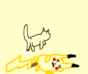 Unconcerned cat walks by dead Pikachu