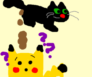 Cat poops on a confused Pikachu's head