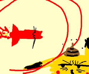 Rocket cat poops on Pikachu