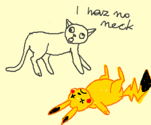 Cat with no neck standing over dead pika