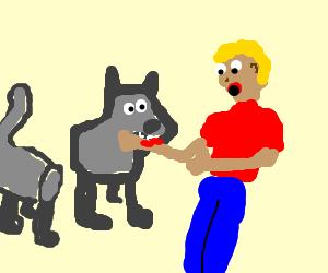 7 legged dog statue breaks attacks man