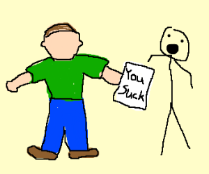 Faceless man insults stickman with note