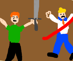 Shaggy uses a sword to decapitate Fred