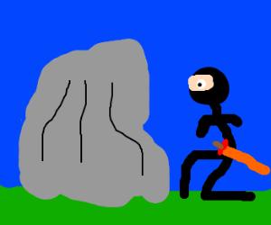 Ninja hiding behind a rock