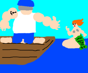 Man sees mermaid while in boat