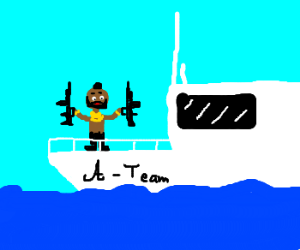 Mr T on a boat with an m4a1 in each hand