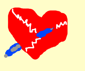 pen goes in a heart and cracks