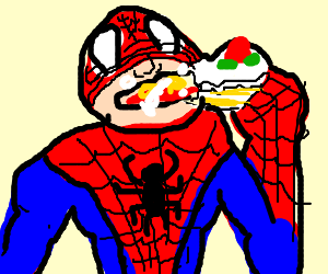 Spiderman indulging after a long day