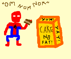 Spiderman eatin a piece of cake( not fat