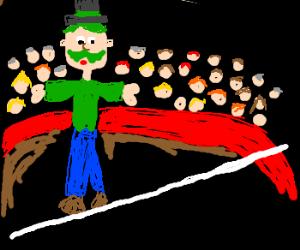 Green Mustache Man Walks Tight Rope