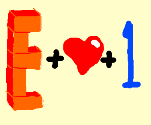 Brick E + heart + 1